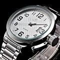 52 MM Branco Dial ORKINA 2016 Prata de Aço Inoxidável dos homens Mens esporte Auto Data Relógio de Quartzo Relógio Reloj Hombre Homens Heren Horloges