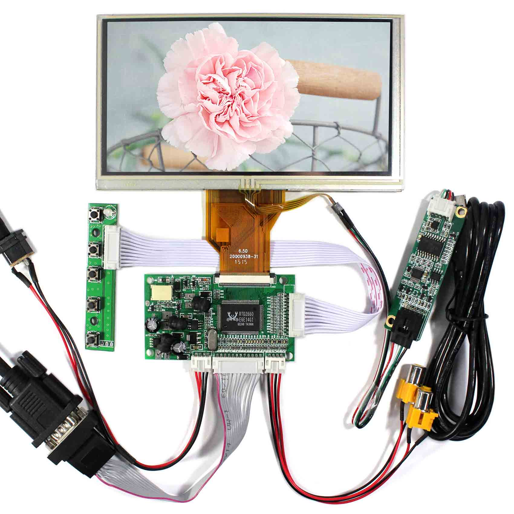 VGA+2AV Reverse LCD Driver Board With 6.5inch 800x480 AT065TN14 LCD Screen With Touch Panel 5inch lcd screen with capacitive touch panel 800x480 40pin lcd display