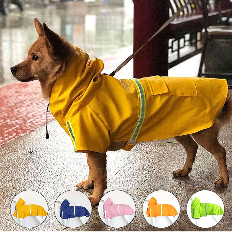 Reflective Dog Raincoat Waterproof Pet Clothes Outdoor Coat Rain Jacket For Small Medium Large Dogs