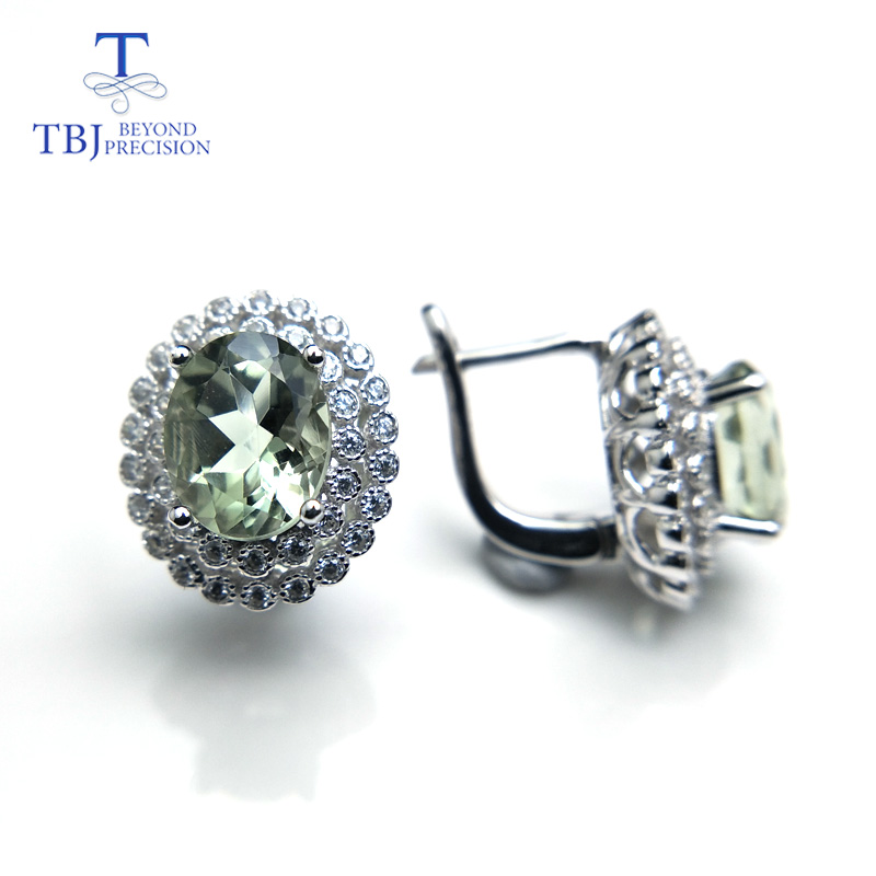 TBJ Hot sale Classic clasp earring with natural green amethyst 4ct gemstone for women daily wear