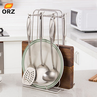 ORZ Kitchen Cooking Utensil Holder Stand Sleigh Shape Chopping Board Rack Stainless Steel Kitchen Tools Organizer Hanging Hooks