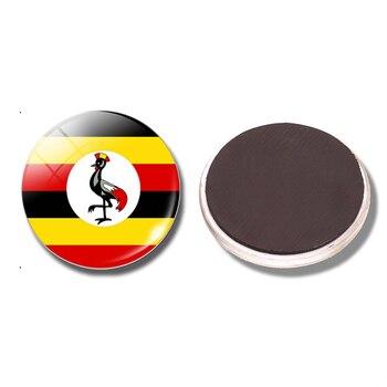 Flaga republiki ugandy 30 MM lodówka magnes Uganda szkło magnetyczne naklejki typu kaboszon na lodówkę pojemnik na notatki Home Decoration