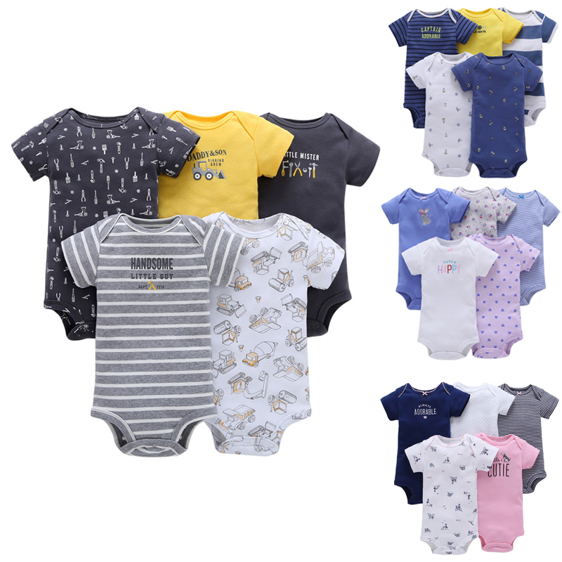 Baby Boys And Girls Clothing Set 5pcs-Pack Short Sleeve Bodysuit For Bebes Boys And Girl Jumpsuit Soft Bebes Bodysuit Kids