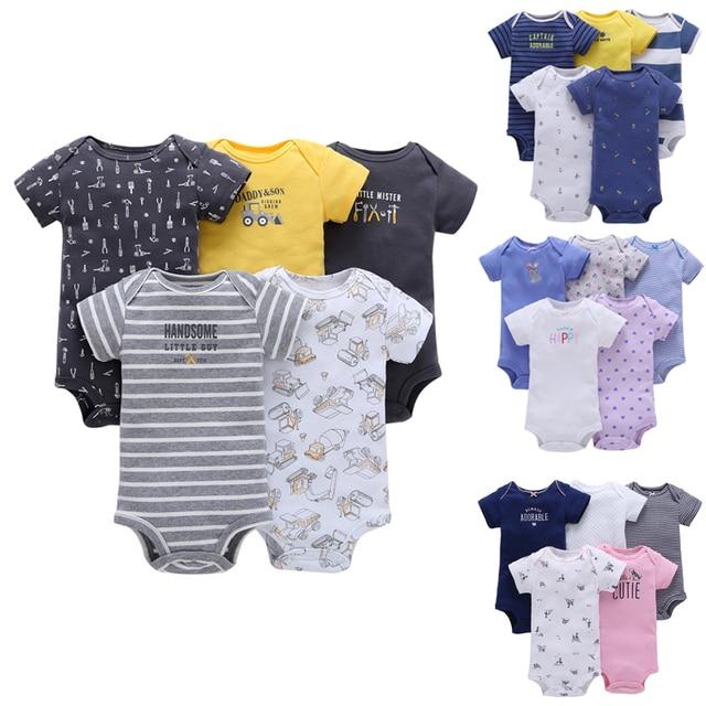 Bé Trai và bé Gái Quần Áo set 5pcs-Pack Ngắn Tay Áo Bodysuit cho Bebes Chàng Trai và Cô Gái Jumpsuit mềm bebes Bodysuit Trẻ Em