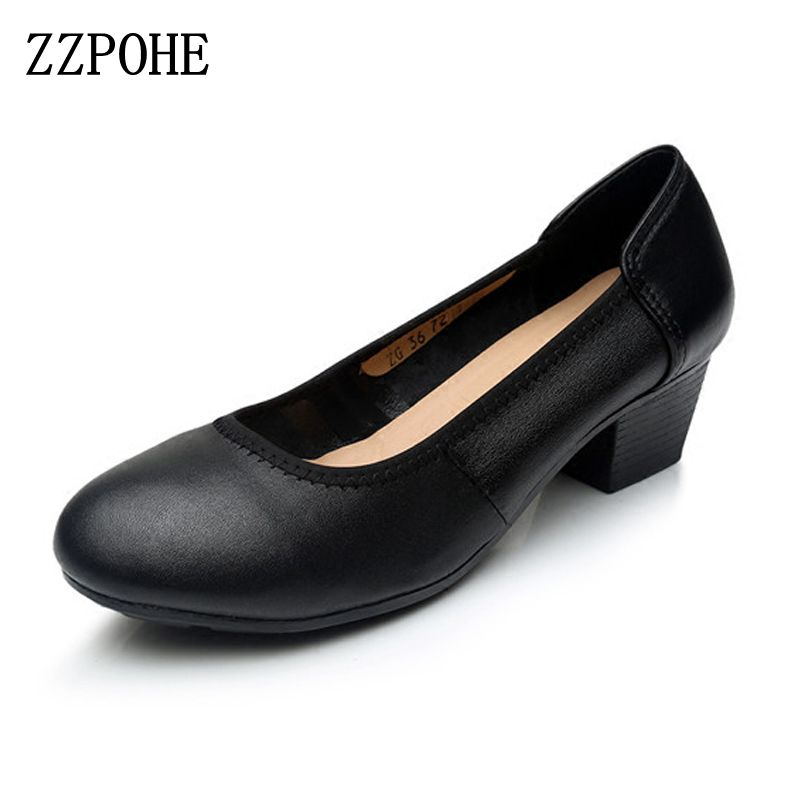 ZZPOHE 2017 Spring Autumn Women's Pumps Fashion Sexy Thick Round Toe Leather Women High Heel Shoes Woman Slip On Casual Shoes
