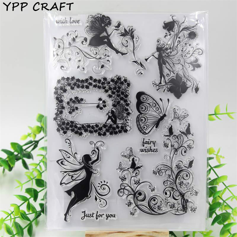 YPP CRAFT Flower Fairy Angels Transparent Clear Silicone Stamp/Seal for DIY scrapbooking/photo album Decorative stamp sheets about lovely baby design transparent clear silicone stamp seal for diy scrapbooking photo album clear stamp paper craft cl 052