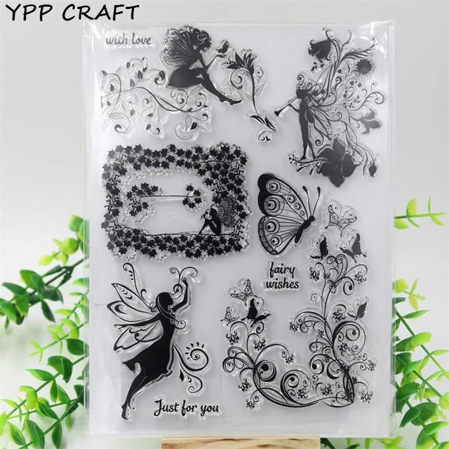 YPP HANDWERK Blume Fee Engel Transparent Klar Silikon Stempel/Dichtung für DIY scrapbooking/fotoalbum Dekorative markenbögen