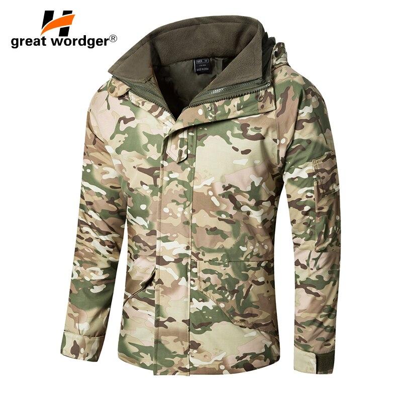 G8 зима Для мужчин толстые Термальность тактическая куртка пальто Водонепроницаемый двухслойный съемный военные Камуфляж ветровка Пеший Т...