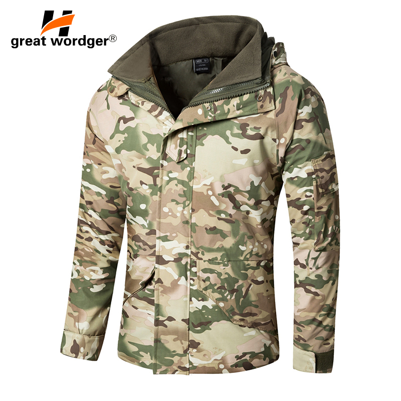G8 Winter Men Thick Thermal Tactical jacket Coat Waterproof Double-layer Removable Military Camouflage Windbreaker Hiking Jacke 2017 new elegant handbag for women high quality split leather female tote bags stylish red black gray ladies messenger bag