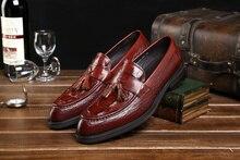Черный/коричневый загар мокасины свадебная обувь квартиры неподдельной кожи причинные бизнес обувь мужские туфли с