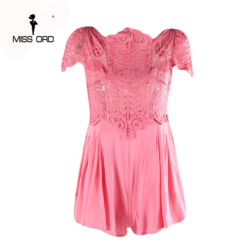 Free Shipping Missord 2020 Sexy O-neck short sleeve Lace stitching playsuit FT3735-1