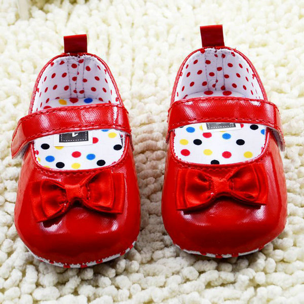 Baby Girls Shoes Infants Princess Bowknot PU Leather Soft Sole Crib Dress Shoes 0-18M