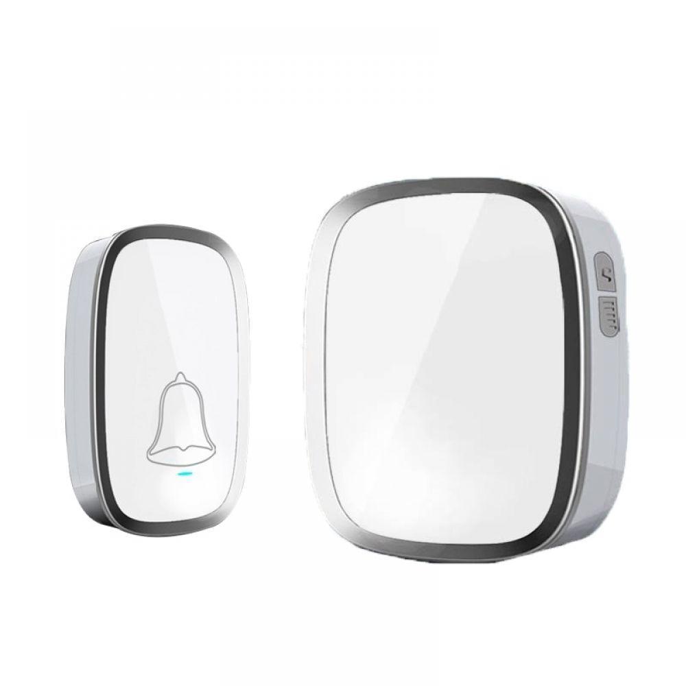 New White EU Plug Wireless Doorbell Waterproof Smart 36 Melody Led Ring Door Bell AC220V 1 Push Doorbells Button +1 Receivers