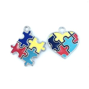 Hot selling Color Enamel Autism Awareness Jigsaw heart /Puzzle Piece Dangle Charms pendant Fit DIY Necklace Bracelet Jewelry(China)