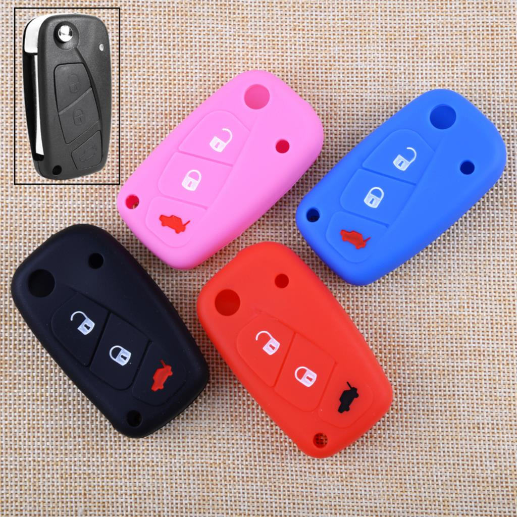DWCX Car 3 Button Silicone Remote Key Cover Case Fob Shell Holder Fit for Fiat Punto 2013 Panda Idea 2008 Stilo 2007 Ducato