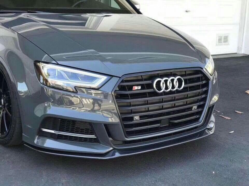 2017 m style carbon fiber front splitter lip spoiler for audi a3 s line s3 sedan only in. Black Bedroom Furniture Sets. Home Design Ideas