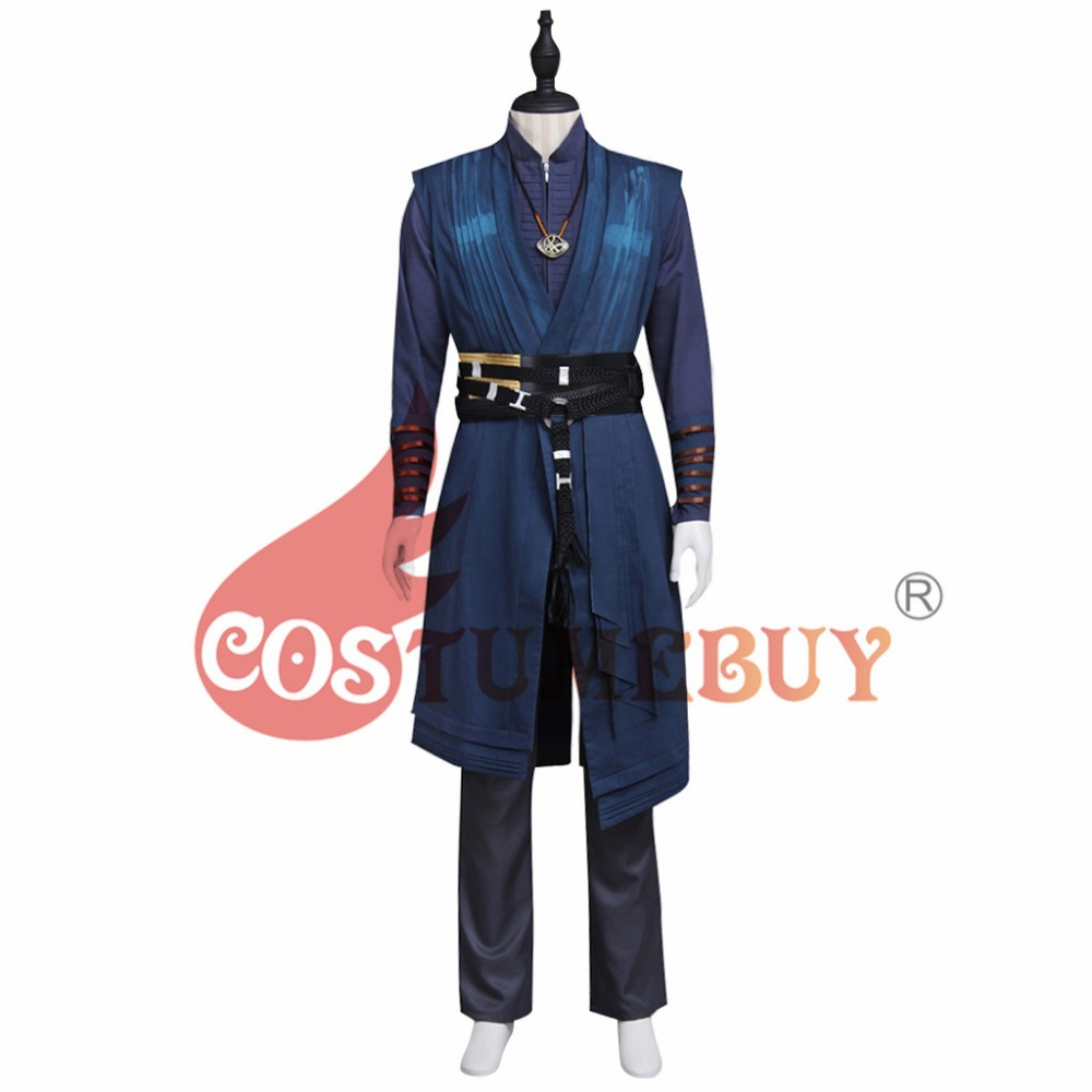 CostumeBuy Doctor Strange Stephen Vincent Strange Cosplay Adult Men's Costume Outfit With Necklace Halloween Party Full Outfits