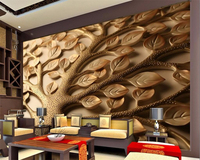 Beibehang Custom 3d Wallpaper Romantic High Quality 3D Living Room TV Background Relief Carved Leaves Branch