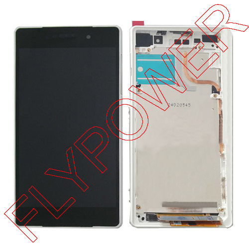 White For Sony Xperia Z2 L50W D6502D D6503 D6543 Z2 LCD display touch screen +frame Assembly By Free Shipping