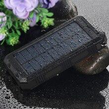 Водонепроницаемый Портативный мобильный солнечное Зарядное устройство pover Bank внешняя Батарея Мощность Bank 20000 мАч Dual USB Мощность Bank со светодиодным фонариком
