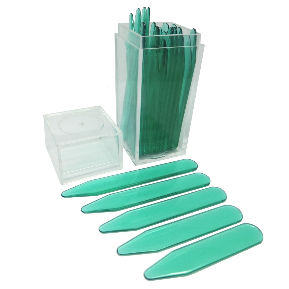 SHANH ZUN Green Plastic Collar Stiffeners Bones For Women Men Formal Dress Shirt 30 Pcs In Bottle 5 Sizes