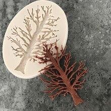 3D рельефное дерево силиконовая форма для помадки украшения торта шоколад мастика форма для выпечки конфеты глина форма DIY помадка торт Декор