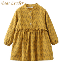 Bear Leader Girls Dress 2017 New Autumn Brand Girls Clothes Casual Style Grass  Printing Lace  Design Baby Girls Dress For 3-7Y