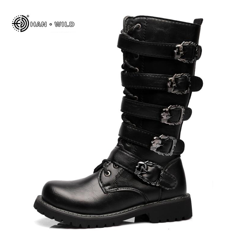 Winter Men Motorcycle Boots 2018 Fashion Mid Calf Punk Rock Punk Shoes Mens PU Leather Black