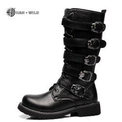 0da4890df Inverno Botas de Homens De Motocicleta 2018 Moda Mid-Calf Sapatos Do Punk  Punk Rock