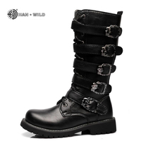 Winter Men Motorcycle Boots 2018 Fashion Mid Calf Punk Rock Martin Shoes Mens PU Leather Black High top Casual Boot Man