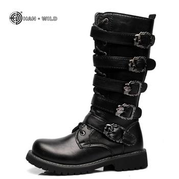 Zima mężczyźni buty motocyklowe 2018 moda Mid-Calf Punk Rock punk buty męskie PU skóra czarny High Top casual Boot Man tanie i dobre opinie Dorosłych Niska (1cm-3cm) Gumowe Pasek na kostkę Masz jw685 Połowy łydki Tkanina bawełniana Okrągły palec Wiosna jesień