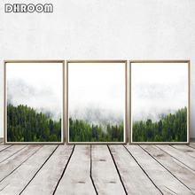 DHROOM Nordic Forest Landscape Wall Art Posters Print Nature Plant Canvas Painting Picture Modern Home Decor Poster