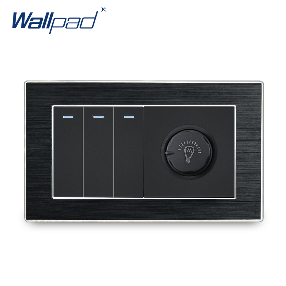 3 Gang 2 Way With Dimmer Switch Wallpad Luxury Satin Metal