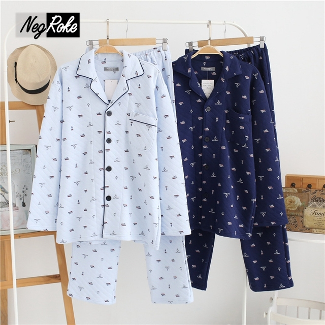 New hot sale winter thickening keep warm pajama sets men sleepwear male pajama sets for man simple navy casual sleep lounge