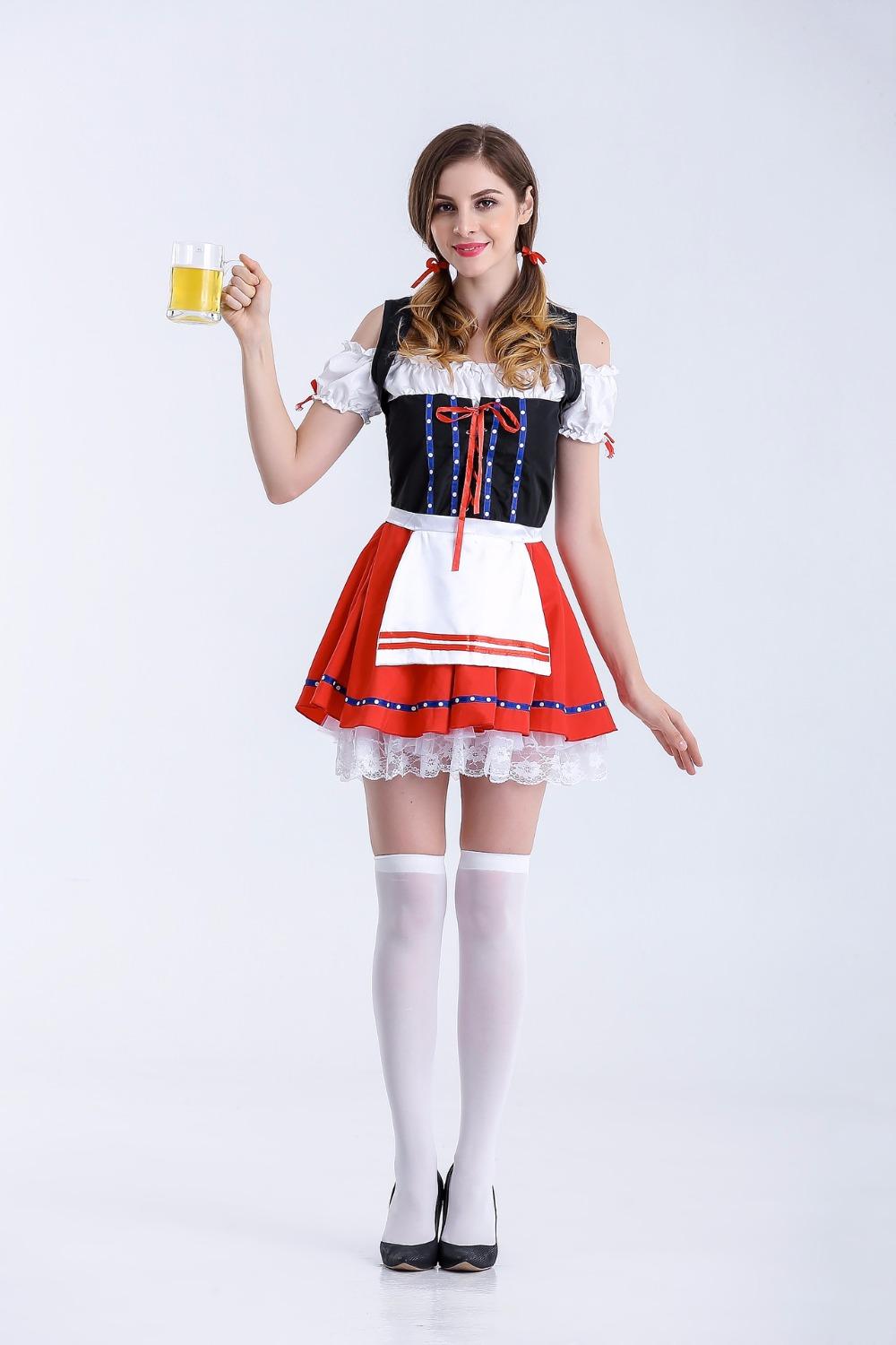 Free Shipping Women's Germany Oktoberfest Bavarian County Beer Girl Ladies Wench Waitress Serving Maid Costume M-XL