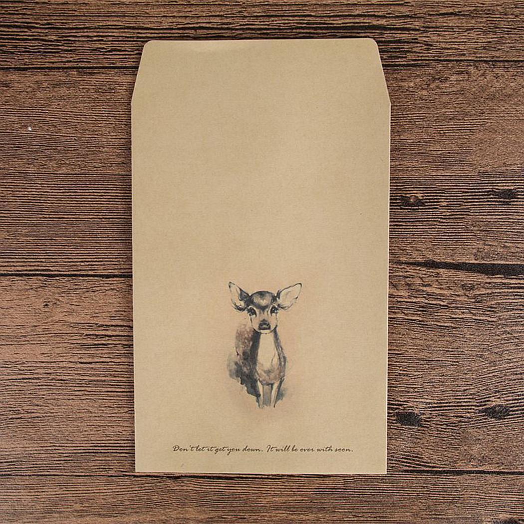 Cute Animal Print Envelopes Kraft Paper Envelopes Gift Yellow Bag