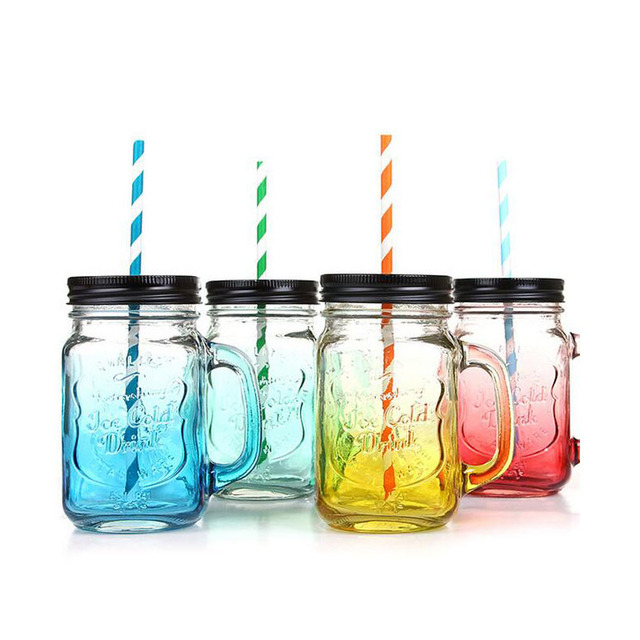 450ml Summer letters Vintage Glass Mason Jar Cup Fruit Icecream