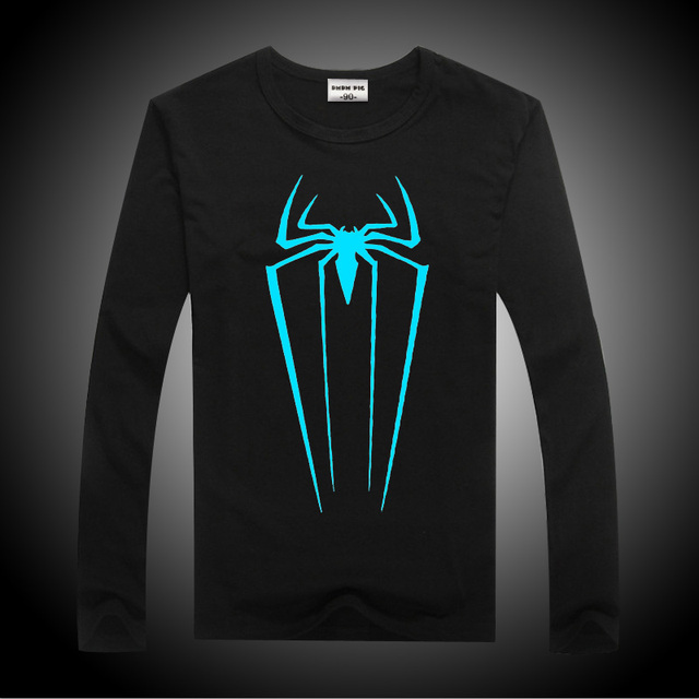 DMDM PIG Spiderman Long Sleeve T-Shirts For Boys Girls Tops Kids Luminous Tshirts Teenage T Shirt Girl Size 10 11 12 13 14 Years