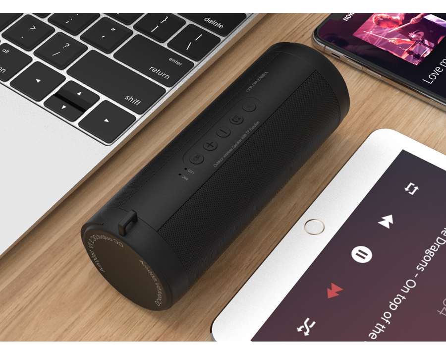 T2 Bluetooth Music Bass Speaker Waterproof Portable Outdoor LED Wireless Column Loudspeaker Support TF Card FM Radio Aux Input