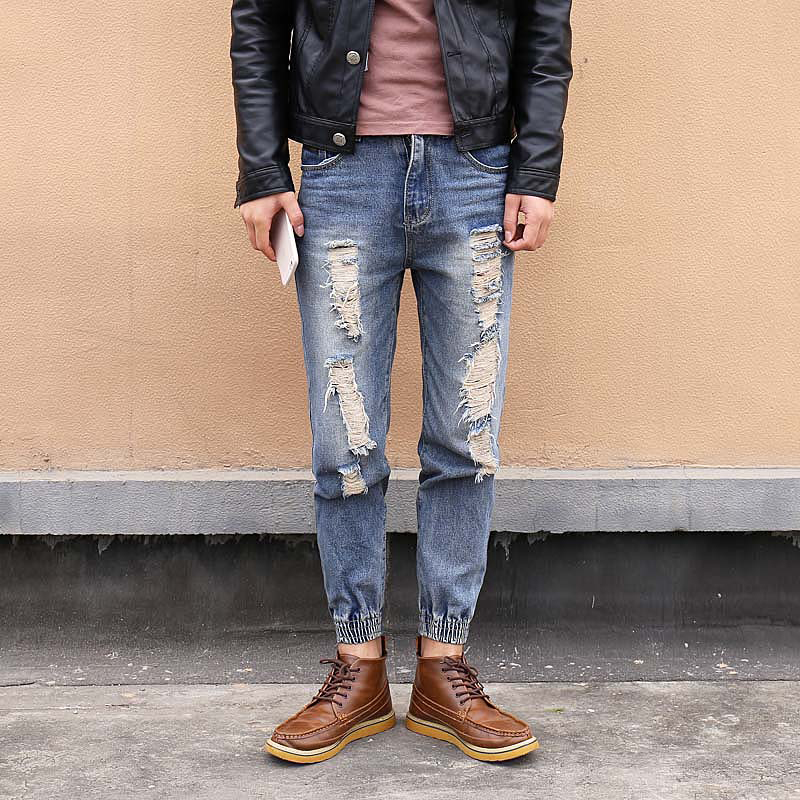 Fashion ripped skinny jeans men's personality rock style jean pants homme slim fit pants for men distressed calca jeans
