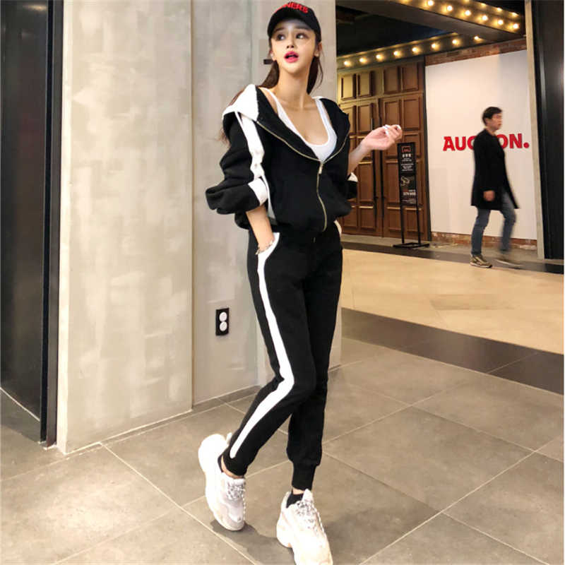 a6a40602 Спортивный костюм женский комплект 2 шт. брюки 2018 модный спортивный костюм  тренировочные костюмы женские джоггеры