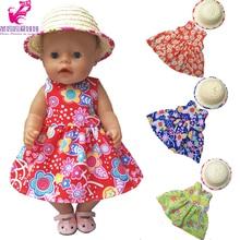 Muñeca 43 cm muñecas vestido de algodón paja sombrero de verano para 18