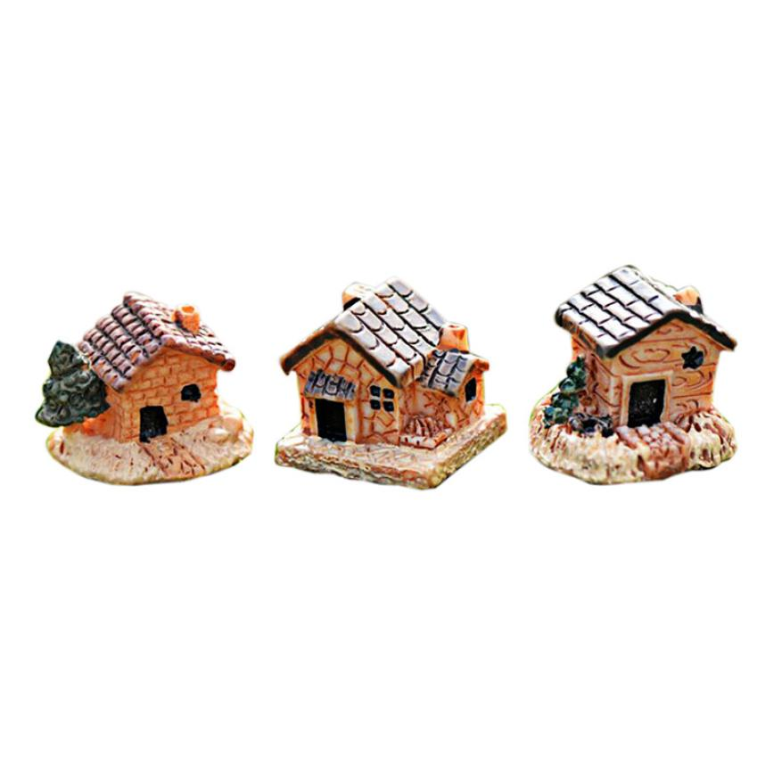 Figurine Mini Dollhouse Stone House Resin Decorations For Home And Garden DIY Home Decor ...