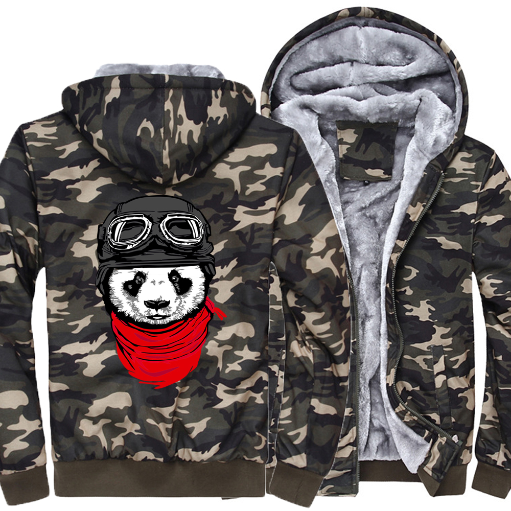 funny panda printed pilot hooded hoodies Newest 2019 men's fashion thicken jackets Harajuku hip hop brand clothes Hipster coats