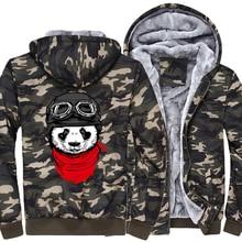 funny panda printed pilot hooded hoodies Newest 2019 men's fashion thicken jackets Harajuku hip hop brand clothes Hipster coats худи print bar panda pilot