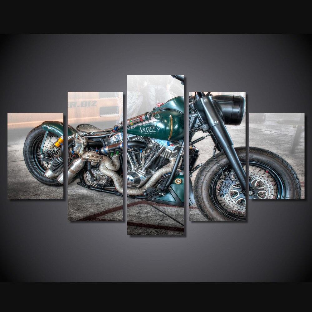 ̿̿̿(•̪ )5 paneles HD pintura al óleo sin marco naturaleza bambú ...