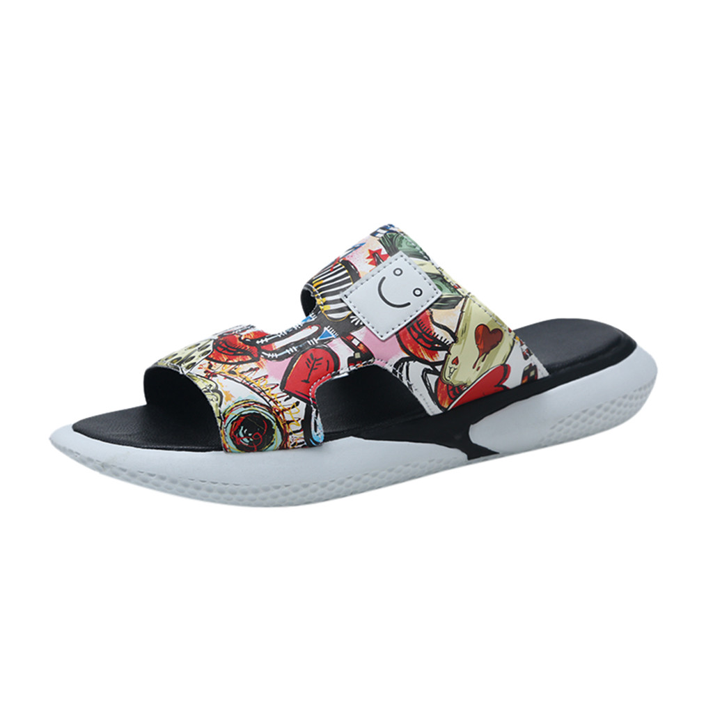 SAGACE 2019 new fashion men's fashion trend personality graffiti street wild beach shoes casual slippers men's home slippers(China)