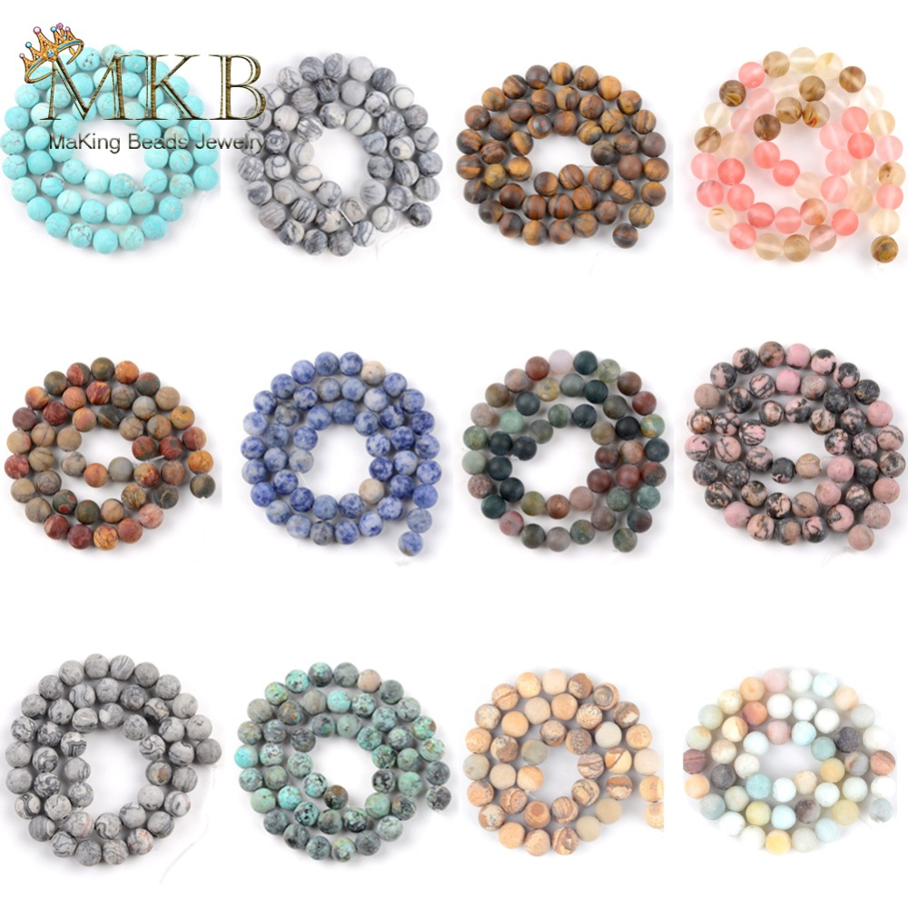 Wholesale 35 Styles Natural Round Dull Polished Howlite Agates Austria Crystal Stone Beads For Jewelry Making Free Shipping