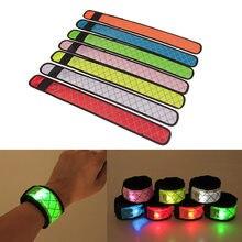 Venda quente de náilon led sports slap luminoso brinquedo pulseira pulseira faixa luz flash brilhante braçadeira para crianças crianças