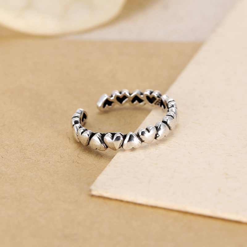 Sonykifa Hot Sale Love Heart Silver Color 4mm Heart to Heart Smooth Surface Pandora Finger Rings Women Wedding Jewelry Gift
